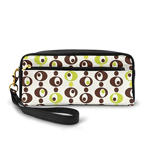 Pencil Case Pen Bag Pouch Stationary,Sixties Ornamental Vintage Circles with Polka Dots Trippy Design,Small Makeup Bag Coin Purse