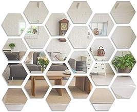 Mirror Wall Sticker, LYGZTing 24 PCS Removable Acrylic Mirror Stickers DIY Wall Decor Mirror Hexagon Wall Sticker Non Glas...