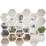 Pegatinas de pared de espejo, LYGZTing 24 espejos acrílicos extraíbles plateados, espejos de decoración de pared de bricolaje, pasillo, sala de estar, espejos decorativos de dormitorio