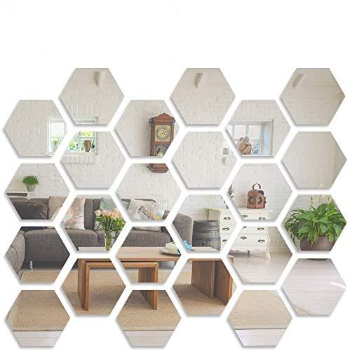 Wall Stickers, 24 PCS LYGZTing Removable Acrylic Mirror Stickers DIY Wall Decor Mirror Hexagon Mirror Wall Sticker Non Glass Mirror for Living Room Bedroom Decor (6.6x11.2x12.8cm/2.6x4.4x5inch)