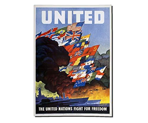 Copytec Poster United Nations Propaganda Plakat Werbung OWI 79 Freiheit ab30x21cm #30403, Farbe:Mehrfarbig, Poster Größen 9:84x59 cm