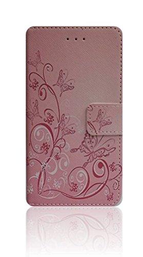 compatibile per MOTOROLA (MOTO E4) XT1762 XT1767 schermo 5.0' Custodia COVER case STAND LIBRO GEL silicone tpu PORTAFOGLIO eco pelle porta carte (FARFALLA ROSA)