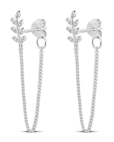 HIGHSTREET .925 Sterling Silver Dangling Drop Chain Earrings Sets forWomen   Elegant Design   Hypoallergenic   Light and Easy on the Ear for All Day Use (STERLING SILVER CZ LEAF)