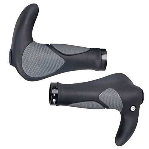 Impugnatura per Manubrio Bici, Bike Handlebar Grips Gomma Alluminio Bicicletta Bar End Ergonomico Manubrio per Bicicleta, Moto, Mountain Bike, 1 Piair (Nero)