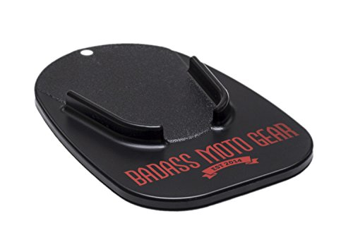 Badass Moto Motorcycle Kickstand Pad - Black - American Made in USA. Rugged, Durable w Color Choices - Kick Stand Coaster/Support Plate Helps Park Your Bike on Hot Pavement, Grass, Soft Ground