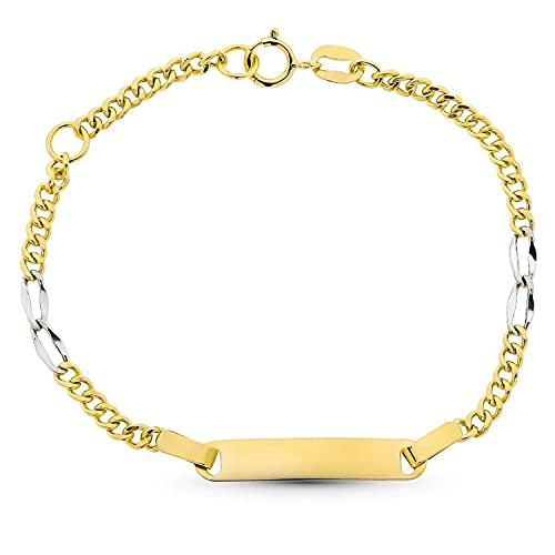 Esclava para bebé oro bicolor 18k niña 14 cm cadena barbada y placa para grabar. Grabado gratuito - Especial regalo bautizo, recién nacida