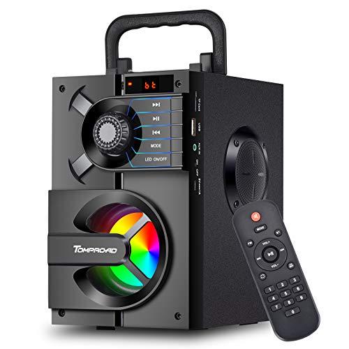 Altavoz Bluetooth, portátil, caja Bluetooth con subwoofer, sonido estéreo inalámbrico, altavoz de graves enriquecido para fiestas, compatible con radio FM, mando a distancia, luces LED (negro)