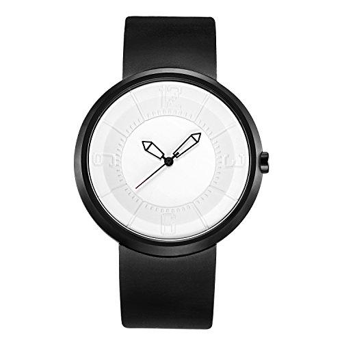 BREAK Reloj Blanco Exclusivo de Moda Geek Cool Quartz Los Amantes de los Hombres Unisex Correa de Caucho Casual Relojes Simples