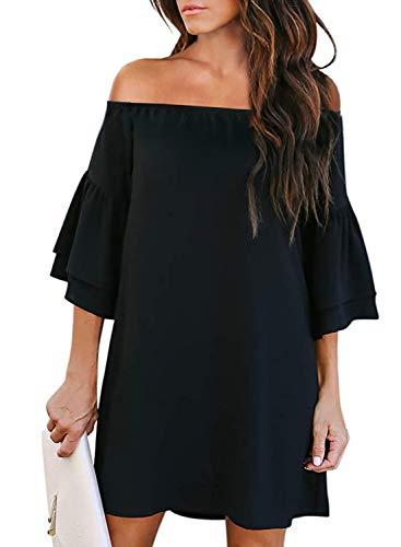 Acelitt Women Casual Off Shoulder Dresses Summer 3 4 Bell Sleeve A Line Shift Mini Dress Black Medium