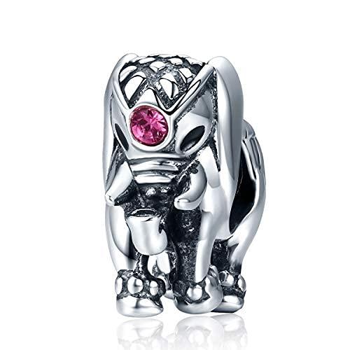 Teleye Abalorio de pulsera de plata de ley 925 con diseño de elefante, compatible con pulseras Pandora, pulseras europeas (SCC321)