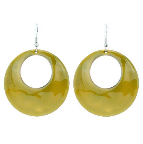 Rotondi Dunkelgelbe pendenti–moda per donna–orecchini gioielli