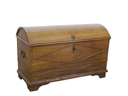 Antike Truhe mit Runddeckel Biedermeier aus Eiche massiv | Runddeckeltruhe Holztruhe Aussteuertruhe | B: 128 cm (9396)