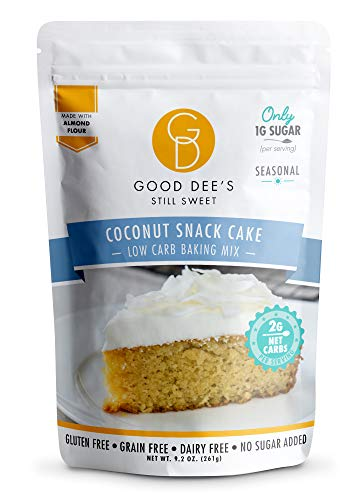 Good Dee's Coconut Snack Cake Baking Mix | Keto Baking Mix | Sugar-Free, Gluten-Free, Grain-Free, Soy-Free, Low Carb Cake Mix | Diabetic, Atkins & WW Friendly (2g Net Carbs, 12 Serving)