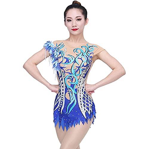 Rhythmic Gymnastics Leotards, Kvinnor Tjej Konkurrens Leotard Ärmlös (Skicka ett paket huvudband och rhinestones),Blue,S
