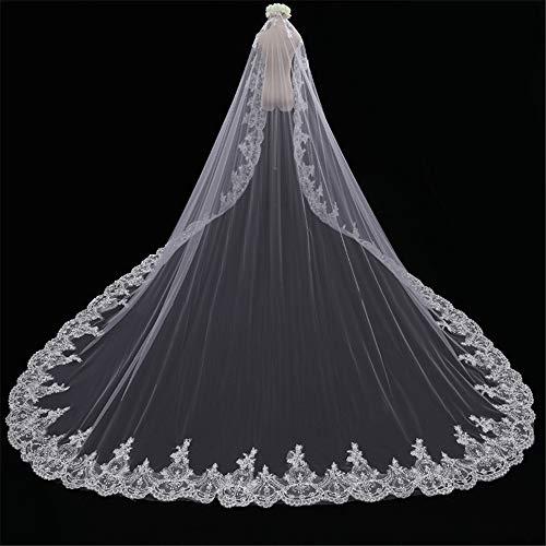 2T Bruidssluiers Wit Trouwsluier Kanten stoffen rand met Comb Dames Mooi Lang kathedraal Bruiloft accessoire Zachte eenvoudige tule, 118 inches,B