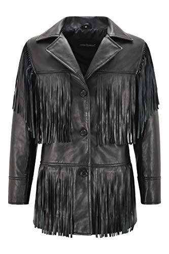 Smart Range Leather Damen Western Fransen Lederjacke Schwarz Klassische Fransen Real Lammfell Jacke 5937 (40)