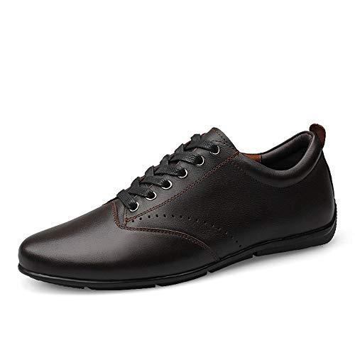 Zapatillas de skate de moda para hombres con cordones de cuero genuino superior no chalant zapatos Jackanapes antideslizantes de ocio marea (color: marrón, talla: 44 EU)