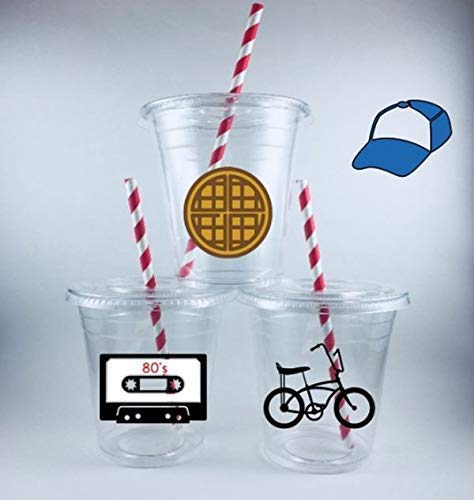 Stranger Themed Party Cups Disposable Set of 12 Lids Straws