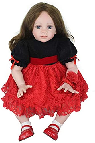 Baby Doll 24  60cm Long Hair Blau Eyes Girl Baby Clothing Model Toy Birthday Gift Dolls