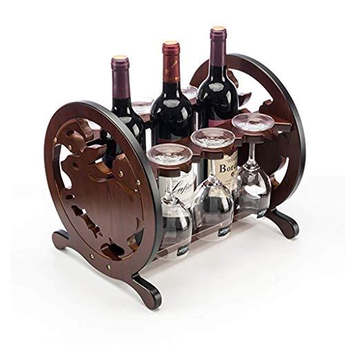 JUNYYANG Jade Zodiaco Conejo Estilo de Madera Botella encimera Gabinete de Mesa Vino de Almacenamiento Ranuras for 3 Botellas Capaz Top Botella de Vino de Almacenamiento 3 Ranuras for la Copa de Vino