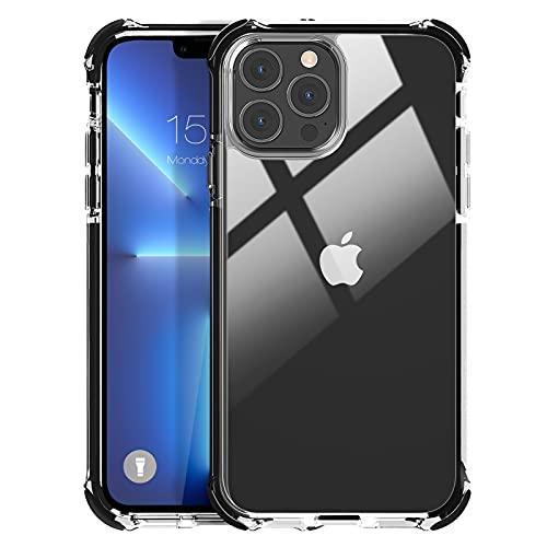 MATEPROX Custodia Trasparente per iPhone 13 PRO Cover Posteriore Rigida Antiurto Custodia Protettiva Sottile per iPhone 13 PRO 6,1   2021-Nero