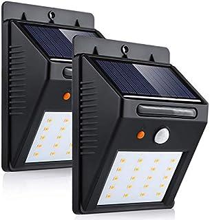 2-Pack 20 LED Lumière Solaire Jardin etanche sans fil, Extérieur Détecteur de Mouvement, pour Mur, Clôture, Patio, Cour, A...