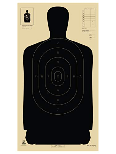 Official B-27 NRA, 50 Yard Police Silhouette Shooting Target, Targets for Pistol Shooting, Paper Targets, Paper Targets for Shooting Range (Black, 25)