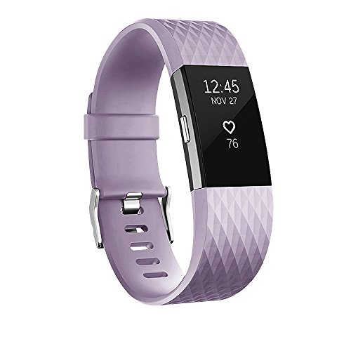 POY Replacement Bands Compatible for Fitbit Charge 2, Special Edition Adjustable Sport Wristbands, Small Lavender