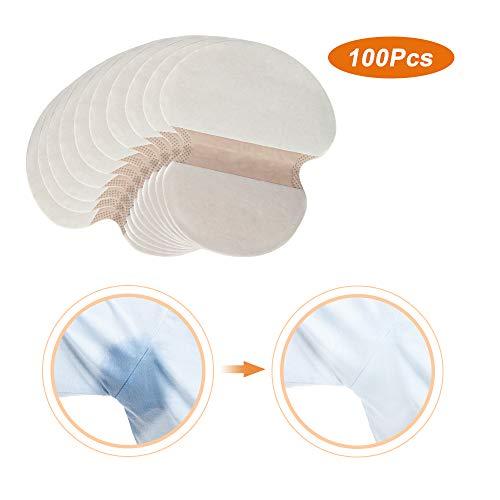 HailiCare 100Pcs Sudor Almohadillas Absorbentes de Transpiración Axilas antitranspirante Pads Desechables Absorción anti Sudor Olor