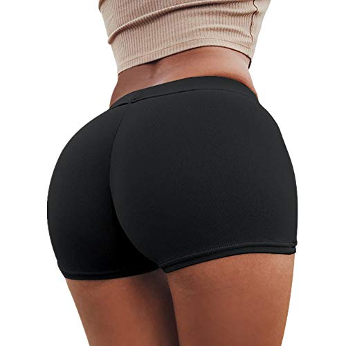 SHOBDW Pantalones de Verano Mujeres Shorts Deportivos Gimnasio de Moda Workout Waistband Skinny Yoga Short Pants (S, Negro)