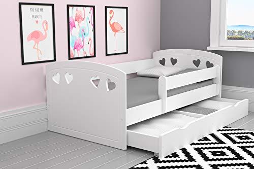 Bjird Kinderbett Jugendbett 80x140, 80x160, 80x180 Weiß mit Rausfallschutz, Schublade und Lattenrost Kinderbetten für Mädchen und Junge - Julia (80 x 160 cm ohne Matratze, Weiß)