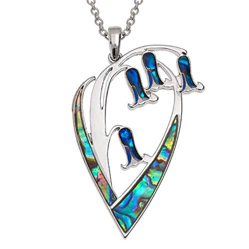 Seashore Jewellery Womens Bluebell Necklace inlaid with Sustainably Sourced Abalone Shell on 18 inch Rhodium Plated Chain with Gift Box