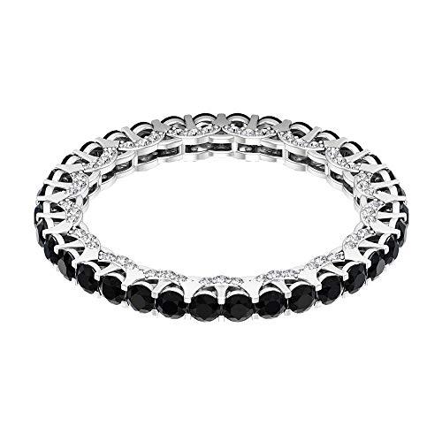 Anillo de eternidad de ónix negro de 1,39 ct, anillo de novia de diamante HI-SI, anillo de compromiso de 2 mm de corte redondo, anillo de boda de oro macizo, 18K Oro blanco, Size:EU 48