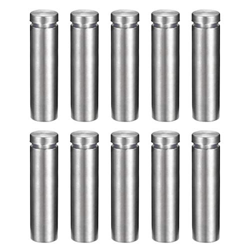 """uxcell 5/8 Dia x 2-3/8""""(16x60mm) Sign Holders Standoff Screws Wall Mount Acrylic Glass Advertising Nails 10pcs"""