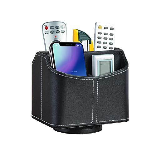 Soporte de Control Remoto PU Cuero 360 Grados Giratorio Organizador de Escritorio TV Pluma lápiz Almacenamiento Caddy con 5 Compartimentos para Sala de Estar y Oficina