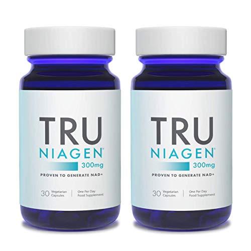 TRU NIAGEN Nicotinamide Riboside NAD + Suplemento para reducir el cansancio y la fatiga, fórmula patentada NR es más eficiente que NMN, 300 mg por porción 30 días (2 mes / 2 botella)