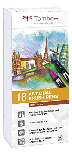 Tombow ABT-18P-3 Fasermaler Dual Brush Pen mit zwei Spitzen 18er Set, erdfarben