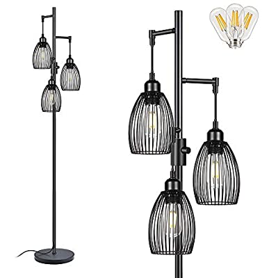 Dimmable Floor Lamp, Farmhouse Industrial Floor Lamp Standing Tree Lamp with 800 Lumens LED Edison Bulbs & Elegant Teardrop Cage Heads Tall Lamps for Living Room Office Bedroom