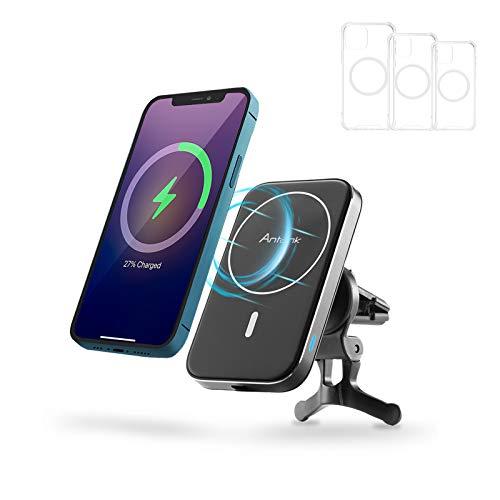 Antank Kabelloses Auto Ladegerät, MagSafe-kompatibel Qi-Zertifiziertes Halter mit 3 Handyhüllen, Kompatibel mit iPhone 12/12 Mini/12 Pro/12 Pro Max Geeignet für Horizontale und Vertikale Luftauslässe