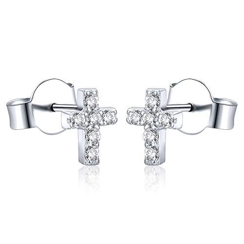 AoedeJ Orecchini a bottone con croce in argento sterling Orecchini con croce religiosa in zirconi cubici per donne e uomini (Stile 1)