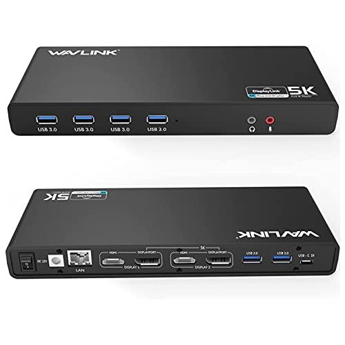 WAVLINK USB 3.0 / USB C Ultra 5K Universal Docking Station admite Dual 4K Video Salidas para portátil, PC o Mac(DisplayPort y HDMI, Gigabit Ethernet,6 Puertos USB 3.0)