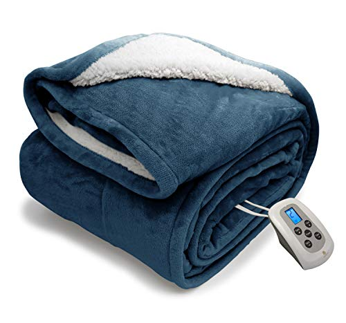 Electric Blanket Micro Plush Sherpa and Reversible Flannel Washable Comfortable with 10 Heat Settings/ Safety 10 Hours Auto-Off Controller Twin Size Bed Blanket (62 x 84'' Navy Blue)