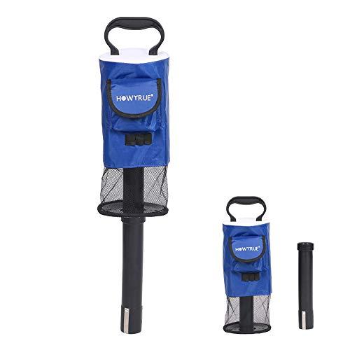 HOW TRUE Golf Ball Retriever, Portable Shag Bag Golf Ball Pick Up with Removable Plastic Tube, Pocket Shagger Storage, Blue