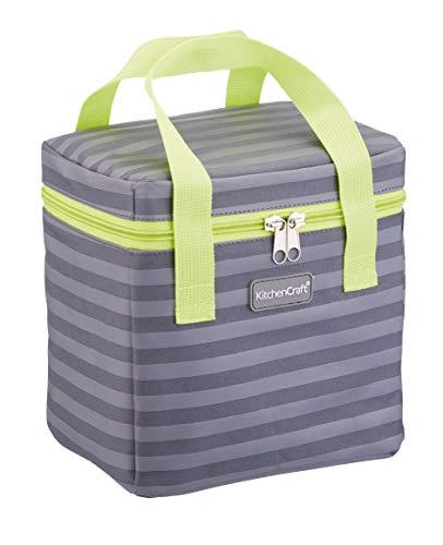 Kitchen Craft KCGRNSTR6TALL Small Lunch Cool Bag, 4.9 L (1 Gal) - Striped Grey/Lime, Fabric, Multi-Colour, 14 x 20 x 20 cm