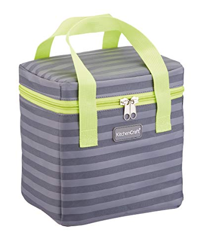 Kitchen Craft KCGRNSTR6TALL Small Lunch Cool Bag, 4.9 L (1 Gal) - Striped Grey/Lime, Fabric, Multi-Colour, 14 x 20 x 20 cm