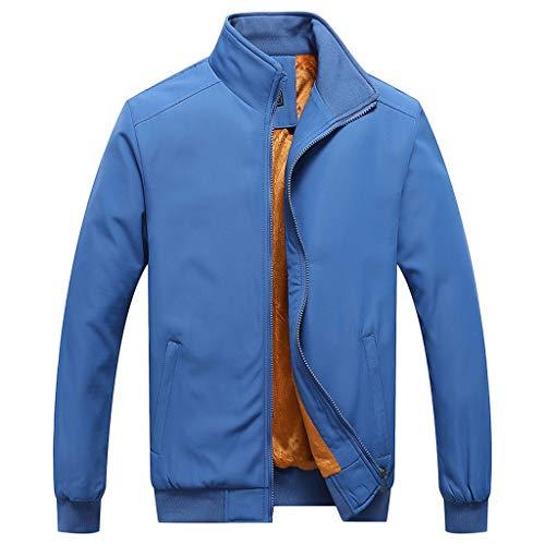 MAYOGO Herren Sweatjacke Warm Gefüttert Übergangsjacke Innenfutter Zip Softshelljacke Regenjacke Freizeit Outdoor Jacke (Himmelblau, M)