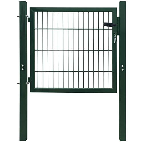 vidaXL Cancello Pedonale per Recinzione Giardino in Acciaio Verde 106x150cm