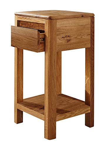 MASSIVMOEBEL24.DE Beistelltisch LINZ aus Wildeiche Natur geölt, kompakter Tisch mit 1 Ablage und 1 Schublade
