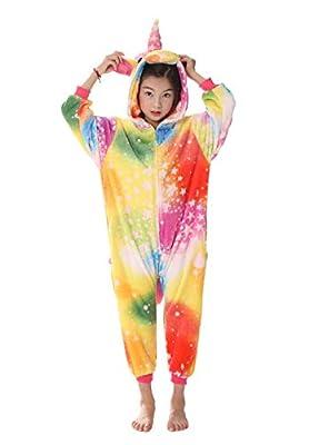 Pijama Unicornio, Kinderkinder Niedliche Cartoon-Tier Flanellpyjama Cosplay Sleepwear-Parteikostüm … (L:110cm-120cm, Unicornio Colorido)