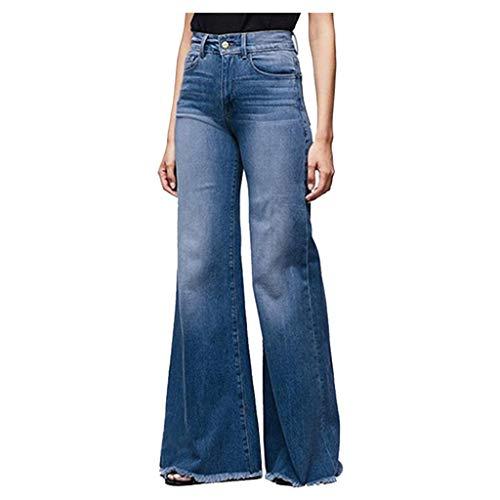 BUKINIE Pantalon en Denim pour Femmes Taille élastique Coupe régulière Coupe Jambes Larges Jeans Taille Haute Curvy Stretch Bootcut Jeans Pantalon Jean(Bleu foncé,XXX-Large